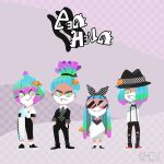 2boys 2girls absurdres artist_name blue_sclera boater_hat bow bowtie checkered checkered_background clownfish facial_hair full_body goatee gradient_hair green_eyes hair_over_one_eye hands_in_pockets highres lineup logo looking_at_viewer multicolored_hair multiple_boys multiple_girls original purple_background sami_briggs sea_anemone splatoon sunglasses sweater