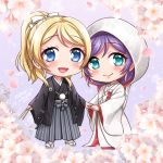 2girls :d aqua_eyes ayase_eli blonde_hair blue_eyes blush bride cherry_blossoms chibi closed_fan closed_mouth eyebrows_visible_through_hair fan flower folding_fan full_body grey_hakama hair_ribbon hakama haori holding holding_fan holding_hands hood japanese_clothes kimono looking_at_viewer love_live! love_live!_school_idol_project mono_land multiple_girls open_mouth purple_hair ribbon signature smile standing toujou_nozomi tsunokakushi uchikake wedding wide_sleeves yuri