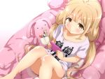 1girl blonde_hair brown_eyes candy cellphone closed_mouth clothes_writing food futaba_anzu idolmaster idolmaster_cinderella_girls lollipop long_hair looking_at_viewer ookanehira phone shirt short_sleeves sitting smile solo stuffed_animal stuffed_bunny stuffed_toy t-shirt twintails you_work_you_lose