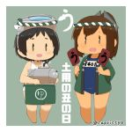 2girls black_hair blush brown_hair capriccyo commentary_request goggles goggles_on_head happi i-401_(kantai_collection) japanese_clothes kantai_collection maru-yu_(kantai_collection) multiple_girls pale_skin ponytail school_swimsuit short_hair simple_background standing swimsuit tan tanline |_|