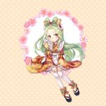 1girl bow brown_eyes floral_print flower frilled_sleeves frills full_body green_hair hair_bow kasuka108 looking_at_viewer noctowl personification pokemon sitting solo thigh-highs white_legwear wide_sleeves