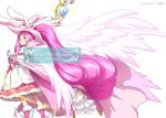 1girl animal_ears cape cure_whip extra_ears food food_themed_hair_ornament frills fruit gloves hair_ornament hat kirakira_precure_a_la_mode long_hair looking_at_viewer magical_girl mahou_girls_precure! matatabi_(karukan222) pink_eyes pink_hair precure precure_all_stars rabbit_ears smile solo strawberry twintails wings witch_hat