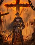1girl absurdres armor axe battle_axe belt blood bloody_clothes blue_eyes branch brown_hair burning chainmail chains closed_mouth cross flaming_weapon flask highres holding holding_axe holding_weapon j_jp knight looking_at_viewer original pauldrons ponytail signature skirt solo standing weapon