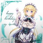 blonde_hair bow chocolate detached_sleeves gem happy_birthday highres long_hair lutecia_syndrome maid maid_headdress ribbon ruler_(fate/apocrypha) ruler_(fate/grand_order) text very_long_hair violet_eyes