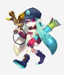 1girl aerospray_(splatoon) akira_hou aqua_hair baseball_cap baseball_uniform bike_shorts black_shorts blue_boots boots closed_mouth domino_mask full_body grey_background hat holding holding_weapon hood hoodie inkling inkstrike_(splatoon) long_hair looking_at_viewer mask pointy_ears shirt short_over_long_sleeves shorts single_vertical_stripe solo splatoon sportswear standing tentacle_hair violet_eyes walking weapon white_shirt
