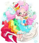 1girl ;d blue_hairband blue_skirt boots cure_parfait earrings food_themed_hair_ornament full_body gloves green_eyes hair_ornament hairband jewelry kirahoshi_ciel kirakira_precure_a_la_mode knee_boots long_hair magical_girl one_eye_closed open_mouth pink_hair precure rainbow_order skirt smile solo star tail v white_boots white_gloves yoshishi_(yosisitoho)