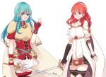armor blue_eyes blue_hair cape celica_(fire_emblem) dress eirika fingerless_gloves fire_emblem fire_emblem:_seima_no_kouseki fire_emblem_echoes:_mou_hitori_no_eiyuuou fire_emblem_gaiden gloves jewelry long_hair multiple_girls nana_(mizukas) red_eyes redhead tiara weapon