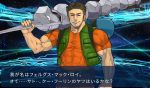 1boy backpack bag brown_hair closed_eyes commentary_request fake_screenshot fate/grand_order fate_(series) fergus_mac_roich_(fate/grand_order) male_focus muscle nanaku_teiru onix pokemon smile takeshi_(pokemon) translation_request vest