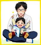 2boys :d ^_^ black_hair blue-framed_eyewear brown_eyes child closed_eyes dual_persona glasses honchu indian_style katsuki_yuuri magazine male_focus multiple_boys open_mouth pointing pointing_up sitting sitting_on_lap sitting_on_person smile star time_paradox viktor_nikiforov younger yuri!!!_on_ice