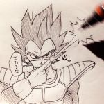 1boy armor black_eyes black_hair dragon_ball dragonball_z energy_beam fourth_wall gloves index_finger_raised looking_at_viewer male_focus mechanical_pencil monochrome pencil simple_background solo_focus speech_bubble tkgsize traditional_media translation_request vegeta