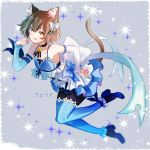 1boy :3 :q animal_ears ankle_ribbon arm_ribbon armpits bangs bare_shoulders black_legwear blue_bow blue_choker blue_dress blue_legwear blue_ribbon blue_shoes bob_cut bolo_tie bow bow_dress brown_hair cat_ears cat_tail character_name choker closed_mouth collarbone commentary_request detached_sleeves dot_nose dot_pupils dress dress_bow eyelashes felix_argyle frilled_dress frilled_legwear frills front-tie_top full_body grey_background hair_between_eyes hair_bow hair_ribbon hand_on_hip hand_up high_heels highres jewelry large_bow layered_dress leaning_forward leg_up lips looking_at_viewer male_focus otoko_no_ko pantyhose parted_bangs paw_pose pendant re:zero_kara_hajimeru_isekai_seikatsu ribbon shoes short_dress short_eyebrows short_hair simple_background solo spaghetti_strap sparkle striped striped_legwear striped_ribbon tail thick_eyebrows thigh-highs thighhighs_over_pantyhose toeless_legwear tongue tongue_out translated vertical-striped_dress vertical-striped_legwear vertical_stripes white_bow