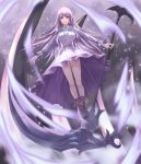 1girl absurdres belt boots brown_boots brown_eyes cross-laced_footwear dress full_body headband highres kama_(weapon) long_hair looking_at_viewer open_mouth original purple purple_dress purple_hair sickle solo standing yagyun