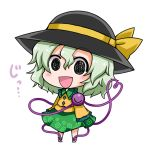 1girl :d black_eyes black_hat blush chibi comic commentary eyebrows_visible_through_hair frilled_shirt_collar frilled_sleeves frills full_body green_collar green_hair green_skirt hair_between_eyes hat hat_ribbon heart heart_of_string komeiji_koishi looking_at_viewer noai_nioshi open_mouth print_skirt ribbon shirt short_hair simple_background skirt smile solo standing third_eye touhou translated white_background yellow_ribbon yellow_shirt