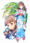1girl bamboo blue_kimono blush brown_hair eyebrows floral_print full_body highres idolmaster idolmaster_cinderella_girls japanese_clothes kamiya_nao kimono long_hair looking_at_viewer obi pen red_eyes sakana sandals sash solo tanabata tanzaku yukata