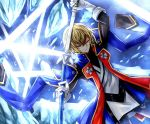 1boy absurdres blazblue blazblue:_calamity_trigger blazblue:_central_fiction blazblue:_chronophantasma blazblue:_continuum_shift blonde_hair glacier green_eyes highres holding holding_sword holding_weapon ice jacket karadborg katana kisaragi_jin looking_at_viewer solo sword weapon