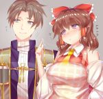 1boy 1girl apron ashu blue_eyes bow breasts brown_hair closed_mouth cookie_(touhou) eyebrows_visible_through_hair hair_bow hair_tubes hakurei_reimu heshikiri_hasebe large_breasts looking_at_another looking_away mole mole_under_mouth parted_lips red_bow rurima_(cookie) saliva touhou touken_ranbu translation_request triangle_mouth violet_eyes