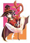 1girl barefoot feet hat highres holding holding_staff kono_subarashii_sekai_ni_shukufuku_wo! leafar megumin red_eyes soles staff toes witch_hat