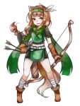 1girl animal_ears ankle_wraps arrow boots bow_(weapon) braid brown_eyes brown_hair commentary_request feathers full_body gloves green_scarf hair_feathers hairband highres holo legs_apart long_hair looking_at_viewer mayumura_basako midriff mismatched_gloves quiver scarf simple_background single_braid solo spice_and_wolf tail weapon white_background wolf_ears wolf_tail