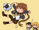 3girls ahoge arm_up arms_up black_hair blonde_hair brown_hair closed_eyes comic commentary_request confetti fumizuki_(kantai_collection) kantai_collection long_hair long_sleeves low_twintails multiple_girls neckerchief open_mouth otoufu pleated_skirt ponytail remodel_(kantai_collection) satsuki_(kantai_collection) school_uniform serafuku sheep short_sleeves skirt smile socks translation_request triangle_mouth twintails ushio_(kantai_collection) yellow_background yellow_eyes