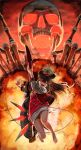 1girl abazu-red barefoot black_hair demon_archer explosion fate/grand_order fate_(series) glowing glowing_eye guitar hat highres instrument jacket jumping long_hair one_eye_closed open_mouth peaked_cap red_eyes skeleton skirt solo