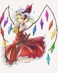 1girl :d ascot bent_knees blonde_hair crystal flandre_scarlet frilled_shirt_collar frilled_skirt frills full_body hat hat_ribbon headphones looking_at_viewer mob_cap musical_note open_mouth psyren2 puffy_short_sleeves puffy_sleeves red_eyes red_ribbon red_skirt red_vest ribbon shirt short_sleeves side_ponytail skirt skirt_set smile solo touhou vest white_shirt wings wrist_cuffs