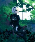 1girl armchair black_dress black_gloves blindfold boots breasts chair cleavage cleavage_cutout dav-19 dress feather-trimmed_sleeves gloves highres moss nier_(series) nier_automata plant puffy_sleeves rain ruins short_hair silver_hair sitting solo thigh-highs thigh_boots vines window yorha_no._2_type_b