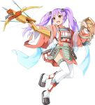 1girl :d arrow bowgun emerane fang full_body holding holding_weapon long_hair looking_at_viewer open_mouth oshiro_project oshiro_project_re purple_hair quiver smile taga_(oshiro_project) twintails very_long_hair weapon white_background yellow_eyes