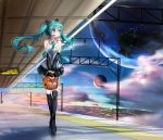 1girl :/ absurdres apple basket black_boots black_skirt blush boots city_lights closed_mouth clouds commentary detached_sleeves directional_arrow eyebrows_visible_through_hair floating_hair flower food fruit grapes green_eyes green_hair green_necktie grey_shirt hair_between_eyes hansal hatsune_miku headset highres holding_basket house long_hair looking_away necktie outdoors pear planet pleated_skirt shirt sign skirt sky sleeveless sleeveless_shirt sleeves_past_wrists solo space spring_onion sunflower thigh-highs thigh_boots train_station_platform twintails v_arms very_long_hair vocaloid walking