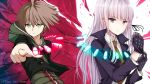1boy 1girl adjusting_clothes adjusting_gloves ahoge artist_name black_gloves black_jacket black_ribbon brown_hair brown_necktie danganronpa danganronpa_1 eyebrows_visible_throug_hair gloves green_sweater hair_ribbon hews_hack hood hooded_sweater index_finger_raised jacket kirigiri_kyouko long_hair looking_at_viewer naegi_makoto necktie parted_lips ribbon shirt silver_hair sweater upper_body very_long_hair white_shirt yellow_eyes zipper