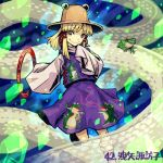 1girl animal_print bangs black_shoes blonde_hair brown_hat frog frog_print hair_ribbon hat looking_at_viewer lowres meitei moriya's_iron_rings moriya_suwako purple_skirt red_ribbon ribbon shoes sidelocks skirt skirt_set sleeves_past_wrists smile snake socks solo touhou tress_ribbon vest white_legwear white_snake wide_sleeves yellow_eyes
