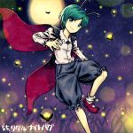 1girl baggy_pants black_pants cape full_moon green_eyes green_hair insect long_sleeves looking_at_viewer lowres meitei moon night_sku outdoors pants red_shoes shirt shoes socks solo touhou white_legwear white_shirt wing_collar wriggle_nightbug