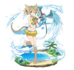 1girl ;) animal_ears ball barefoot beachball bikini bikini_skirt blue_flower brown_hair cat_ears cat_tail collarbone flat_chest full_body hair_between_eyes hair_ornament layered_skirt long_hair navel one_eye_closed one_leg_raised palm_tree pina_(sao) short_twintails silica_(sao-alo) skirt smile solo standing standing_on_one_leg striped striped_bikini swimsuit sword_art_online tail tree twintails water yellow_skirt