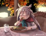 >:d 1girl :d ahoge bow bowtie cosplay eating food glasses grey_hair kantai_collection kiyoshimo_(kantai_collection) long_hair misumi_(niku-kyu) musashi_(kantai_collection) musashi_(kantai_collection)_(cosplay) open_mouth puffy_cheeks shirt skirt smile steak twintails very_long_hair white_shirt