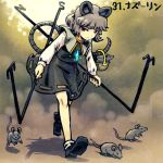 1girl animal_ears bare_legs basket black_shoes black_skirt capelet dowsing_rod full_body green_hair holding jewelry long_sleeves looking_at_viewer lowres meitei mouse mouse_ears mouse_tail nazrin pendant red_eyes shoes short_hair skirt skirt_set socks solo tail touhou vest walking white_legwear