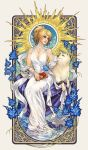 1girl animal blonde_hair book dog dress final_fantasy final_fantasy_xv hagoromo highres jewelry looking_at_another lunafreya_nox_fleuret necklace nijuuni parted_lips pryna_(ff15) shawl sitting smile white_dress