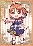10s 1girl ahoge birthday braid character_name chibi earrings english floral_print happy_birthday jewelry love_live! love_live!_sunshine!! miloku necklace orange_hair red_eyes rose_hair_ornament short_hair side_braid sunflower_print takami_chika