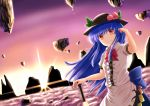 >:) 1girl above_clouds bangs black_hat blue_hair bow bowtie closed_mouth cowboy_shot dress_shirt floating_rock food frilled_shirt frills fruit hat hinanawi_tenshi holding holding_sword holding_weapon leaf long_hair looking_at_viewer luke_(kyeftss) peach puffy_short_sleeves puffy_sleeves rainbow_order red_bow red_bowtie red_eyes shirt short_sleeves smile solo sunrise sword sword_of_hisou touhou weapon