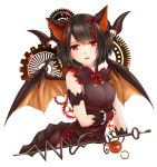 1girl bangs black_hair bow bowtie breasts brown_dress dragon_ears dragon_horns dragon_wings dress eyebrows_visible_through_hair gears horns kazuyoshi looking_at_viewer medium_breasts myr_(p&d) open_mouth puzzle_&_dragons red_bow red_bowtie red_eyes short_hair simple_background sleeveless solo upper_body white_background wings