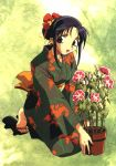 1girl black_hair flower flower_pot full_body green_background highres ishida_atsuko japanese_clothes kimono kneeling long_sleeves looking_at_viewer sandals sidelocks solo