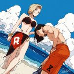 1boy 1girl android_17 android_18 beach bikini black_hair blonde_hair blue_eyes breasts cleavage dragon_ball dragonball_z flip-flops grey_eyes groin hand_in_pocket hand_on_hip large_breasts leaning_forward legs_crossed looking_at_viewer male_swimwear muscle navel ocean red_ribbon red_ribbon_army ribbon sandals sarong short_hair swim_trunks swimsuit swimwear tama_azusa_hatsu tattoo water