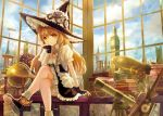 1girl aircraft blonde_hair book boots braid broom chin_rest clock clock_tower clouds commentary_request dirigible dress fingerless_gloves gears globe gloves hat hourglass keiko_(mitakarawa) kirisame_marisa long_hair looking_at_viewer sitting smile solo steampunk telescope touhou tower window witch_hat yellow_eyes zeppelin