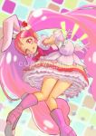 1girl ;q animal_ears boots bow cake_hair_ornament copyright_name cure_whip food_themed_hair_ornament gloves hair_ornament jj_(ssspulse) kirakira_precure_a_la_mode knee_boots long_hair magical_girl multicolored multicolored_background one_eye_closed pink_boots pink_bow pink_eyes pink_hair precure rabbit_ears skirt solo tongue tongue_out twintails usami_ichika white_gloves