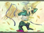 blonde_hair blue_eyes crying full_body hair_ornament hairclip highres kagamine_rin kneeling midriff solo tears vocaloid wings