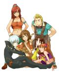 2boys 4girls amy_(suisei_no_gargantia) animal armlet bellows_(suisei_no_gargantia) blonde_hair blue_eyes brown_hair chamber_(suisei_no_gargantia) fringe green_eyes highres ledo_(suisei_no_gargantia) long_hair melty_(suisei_no_gargantia) multiple_boys multiple_girls open_mouth pinion_(suisei_no_gargantia) ponytail redhead saaya_(suisei_no_gargantia) short_hair side_slit silver_hair skirt smile suisei_no_gargantia twintails yellow_eyes