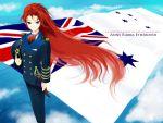 australia bad_id blue_eyes english flag long_hair military military_uniform original red_hair redhead uniform union_jack united_kingdom very_long_hair wind