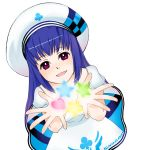 blue_hair dress hat highres long_hair pangya purple_eyes star stars violet_eyes vuipui