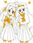 aino_minako azuma_yukihiko bishoujo_senshi_sailor_moon blue_eyes bow double_bun hair_bow monochrome multiple_girls orange_(color) school_uniform serafuku spot_color tsukino_usagi twintails
