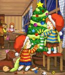 boney brown_hair cake christmas christmas_tree claus dog doseisan family flint food hat hinawa long_hair lowres lucas mother mother_(game) mother_3 pastry santa_hat smile