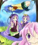 blue_hair casual glasses green_eyes hammock hiiragi_kagami hiiragi_tsukasa hoodie izumi_konata kneeling long_hair lucky_star lying pink_hair purple_eyes purple_hair short_hair skirt takara_miyuki thigh-highs thighhighs tsukiyo tsukiyo_(skymint) twintails v violet_eyes zettai_ryouiki