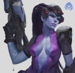 1girl arm_tattoo bodysuit breasts earrings gloves gun head_mounted_display highres holding holding_gun holding_weapon jewelry lips long_hair looking_to_the_side medium_breasts nick_gan nose overwatch pink_bodysuit ponytail purple_hair purple_skin rifle solo stud_earrings tattoo upper_body weapon widowmaker_(overwatch) yellow_eyes